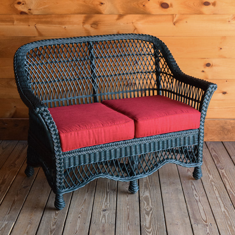 Green Painted Wicker Loveseat with Cherry Red Polyester Cushions