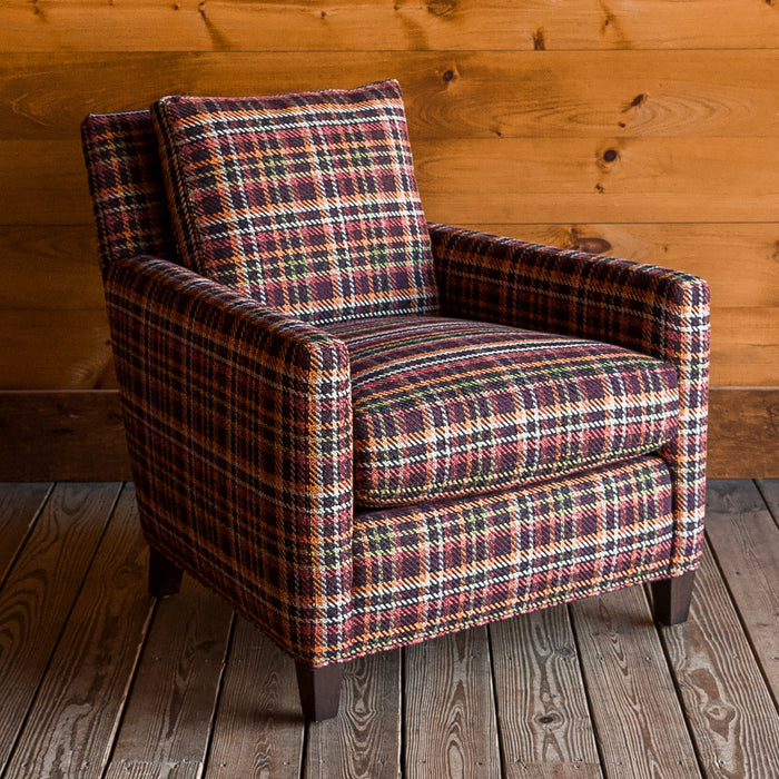 Rustic Rich Plaid Arm Chair with Hardwood Frame