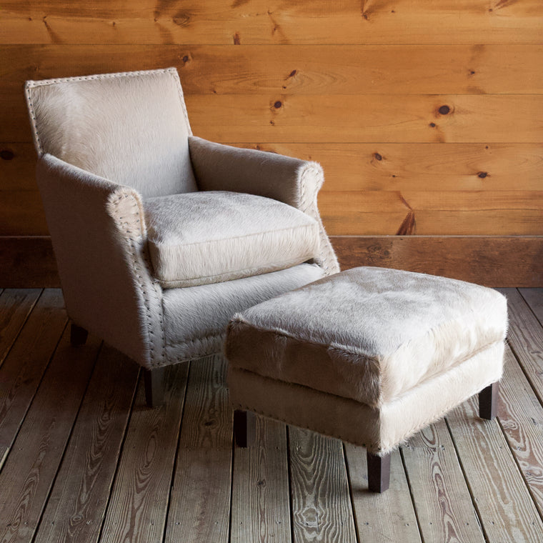 Iroquois Arm Chair & Ottoman in Tanzania Ash Leather