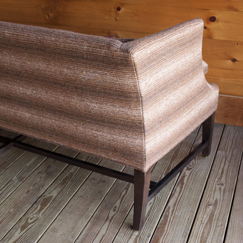 Entryway Bench with Oak Frame Upholstered in Brown Ombre Blanket Wool