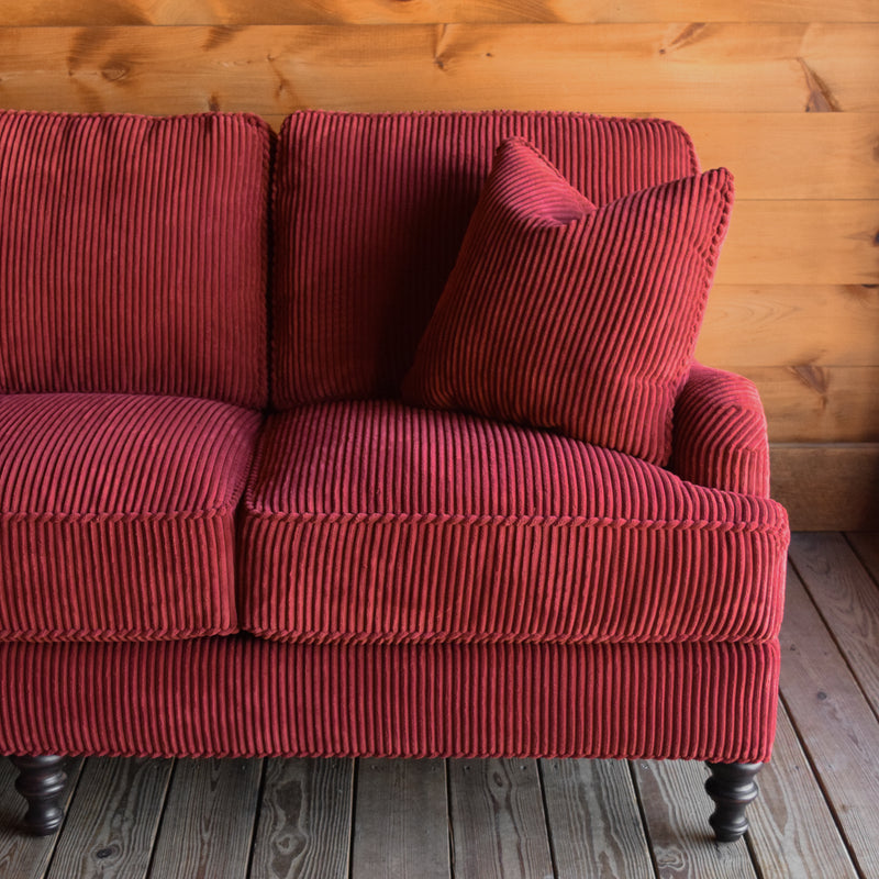 Red Velvet Sofa, English Arm Sofa with Hardwood Frame, Turned Legs and Matching Throw Pillows