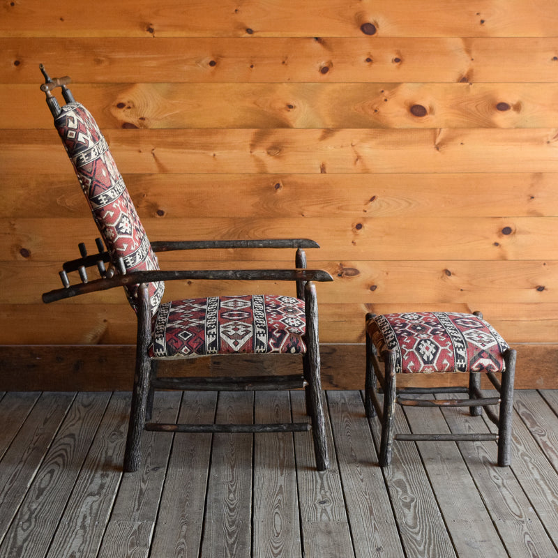 Hickory Adjustable Adirondack Morris Chair & Ottoman with One-of-a-Kind Vintage Kilim Upholstery