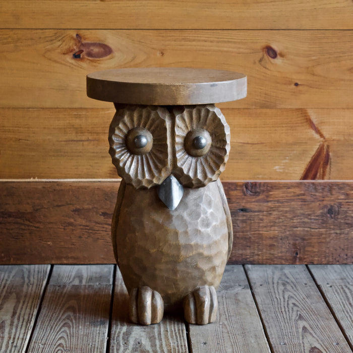 Hand-Carved Owl Side Table with Metal Accents