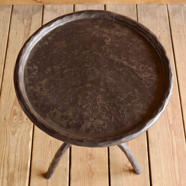 Round Hammered Metal Drink Side Table
