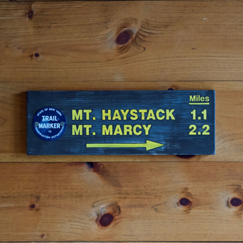 Hand Painted New York State Conservation Department Mt. Haystack & Marcy Sign with Trail Marker