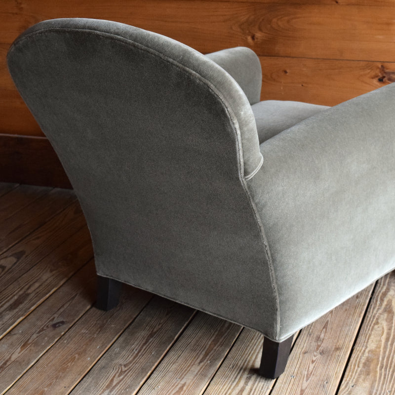 Round Club Chair Upholstered in Green Mohair