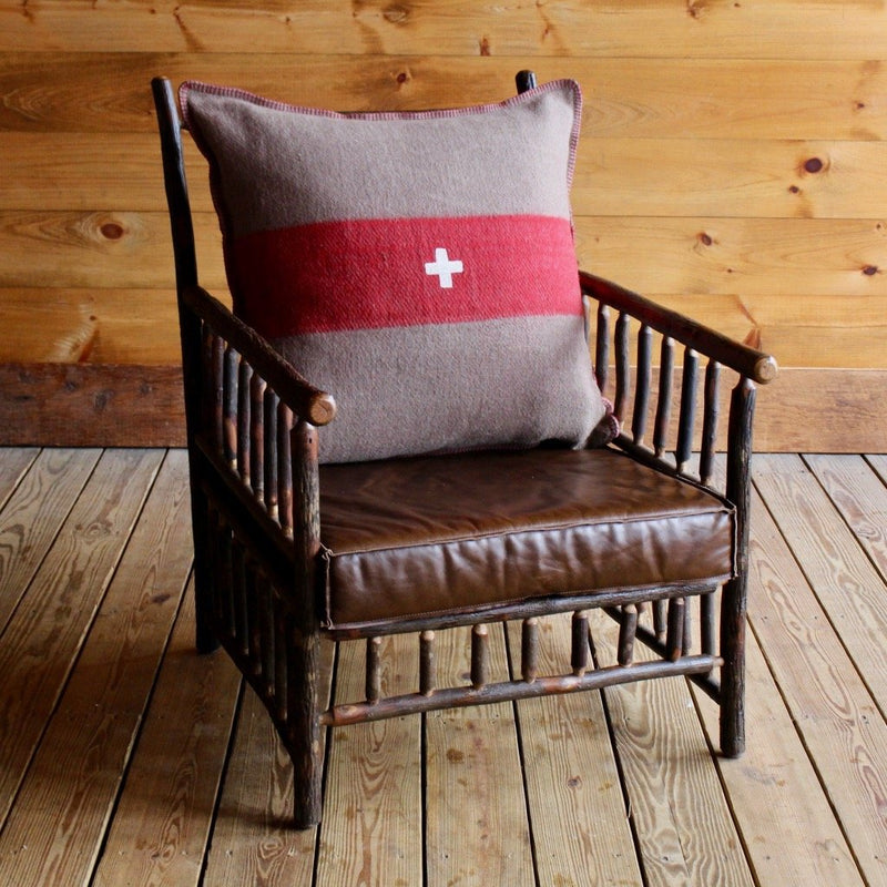 Rustic Adirondack East Hill Chair in Hickory with Brown and Red Fleece Swiss Army Pillow and Leather Cushion