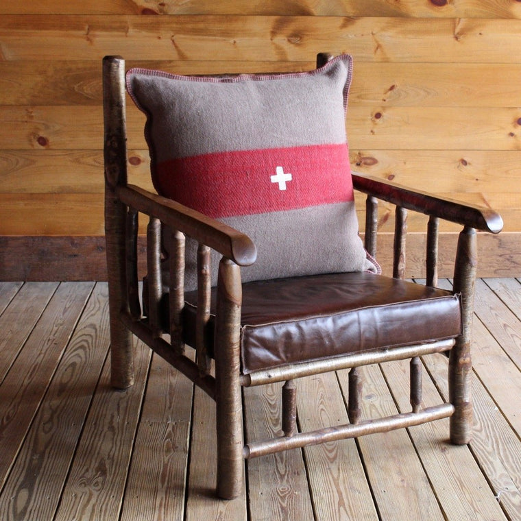 East Hill Yellow Birch Club Chair in Red Swiss Army