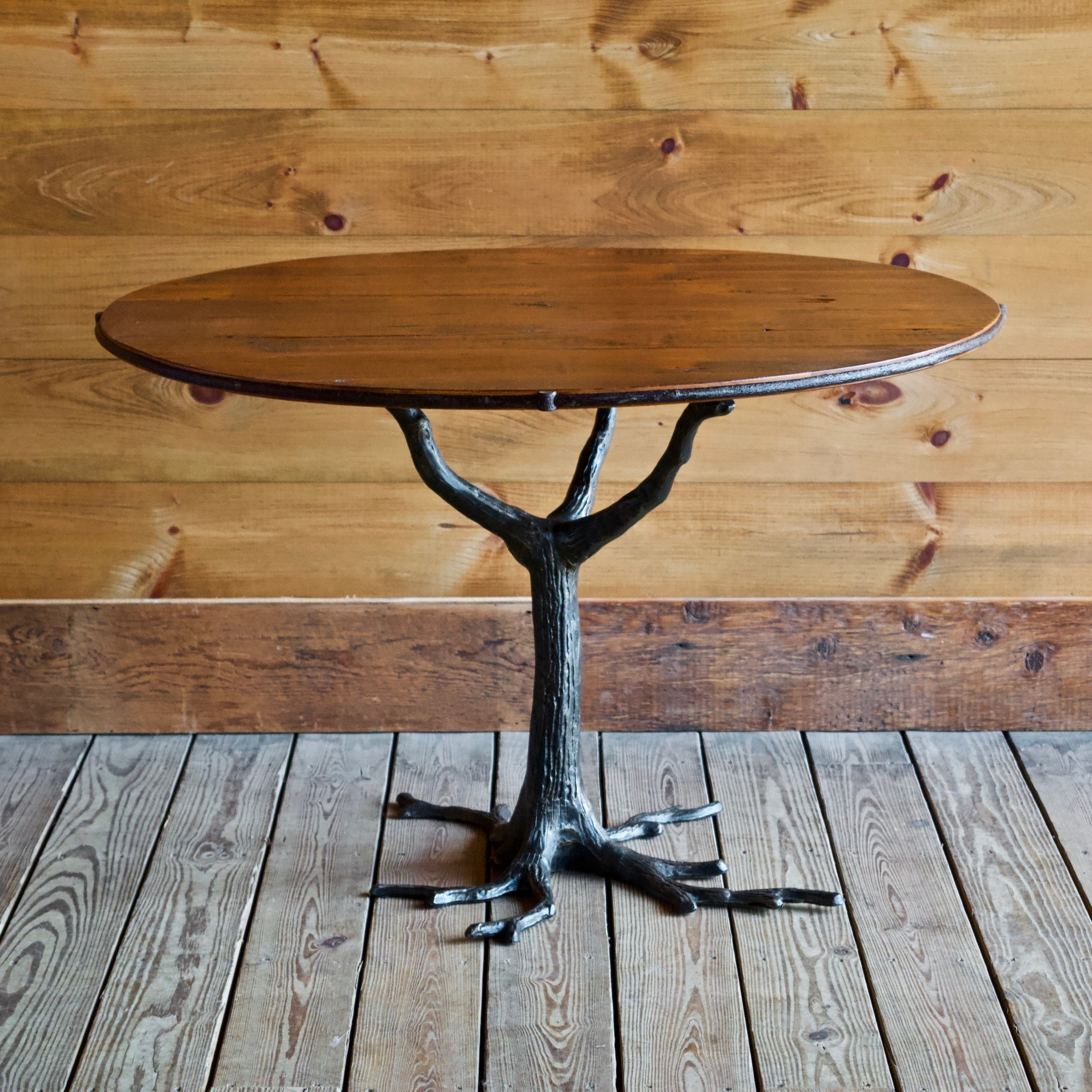 Iron Root Base Dining Table with Barnwood Top
