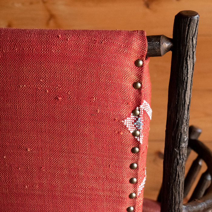 Hickory Arm Chair Upholstered in Moroccan Cactus Silk Rug