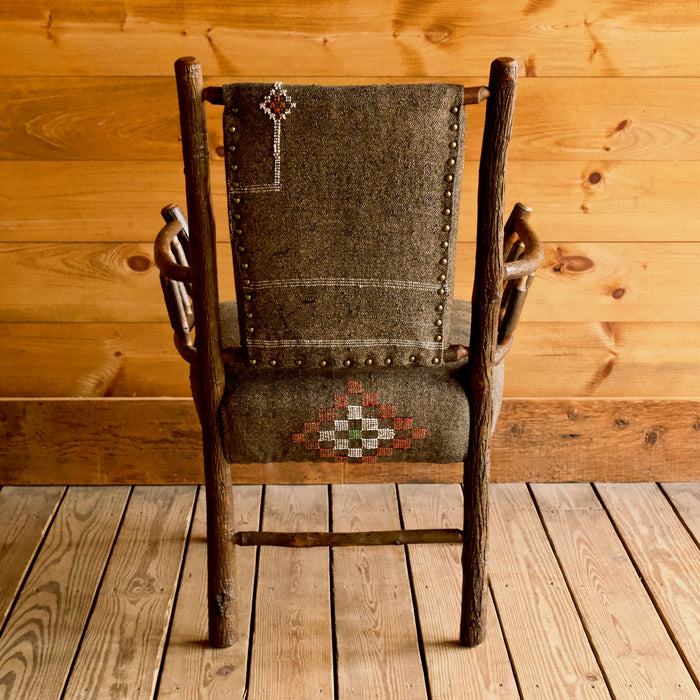 Hickory Keene Valley Chair Upholstered in Brown Cactus Silk Rug