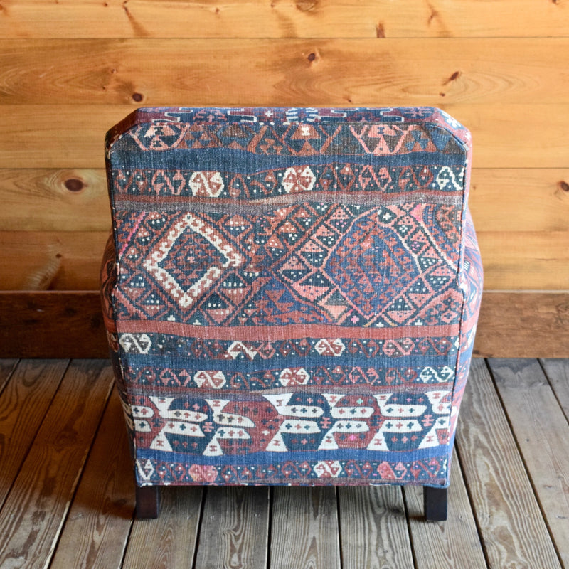 Lakeside Arm Lounge Chair in Kravet Fez Kilim Tribal Fabric with Antique Nailhead Trim
