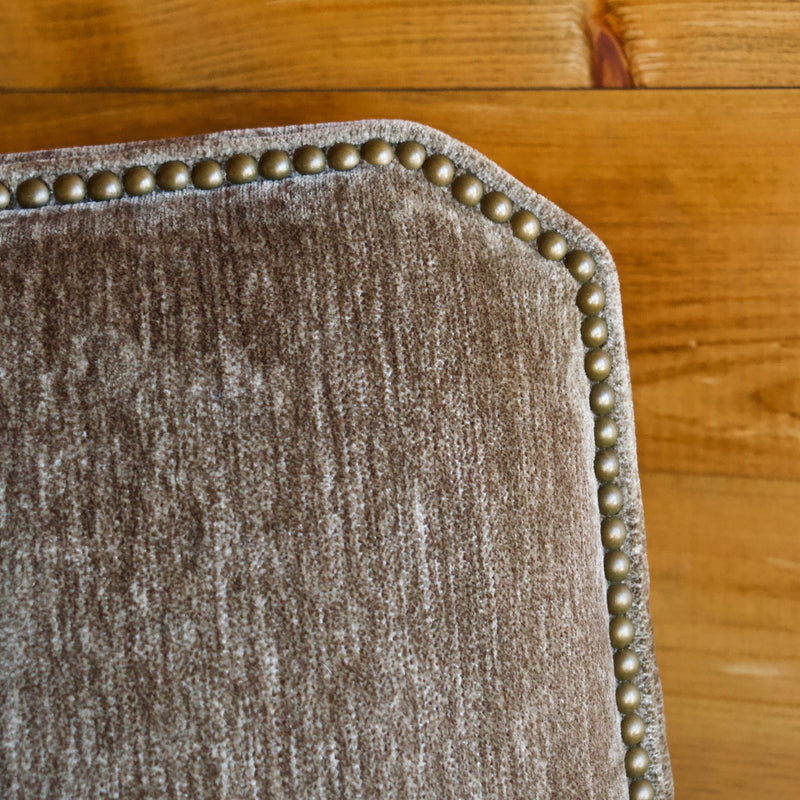 Rustic Gray Velvet Arm Chair with Nailhead Trim