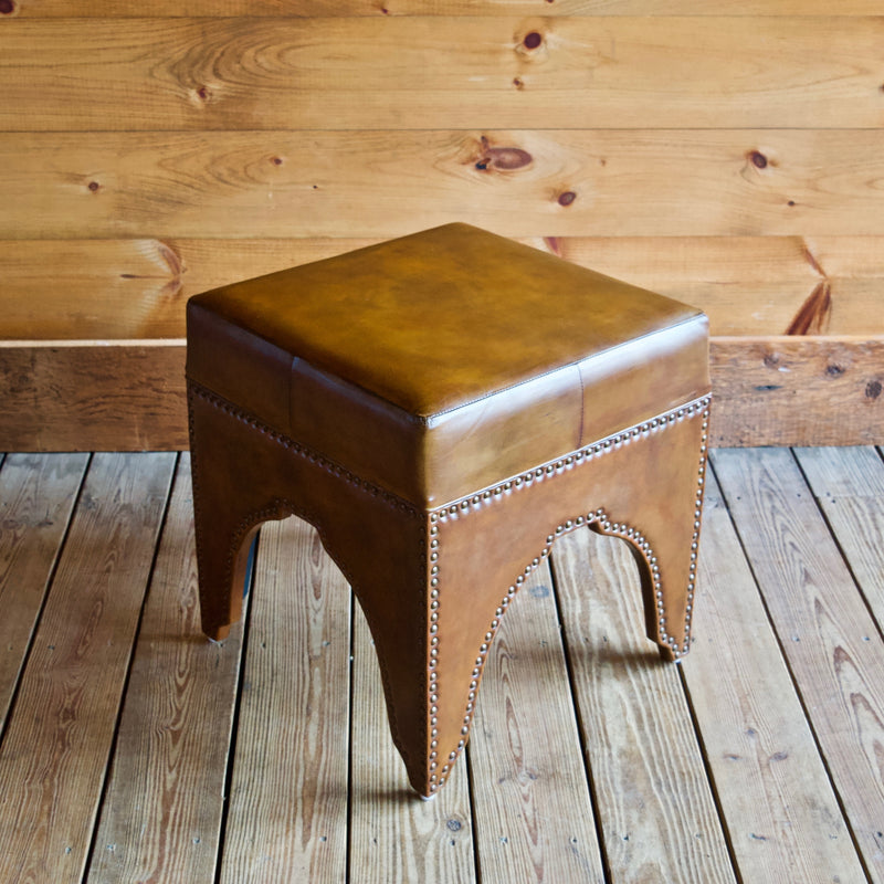 Leather Footstool with Nailhead Trim