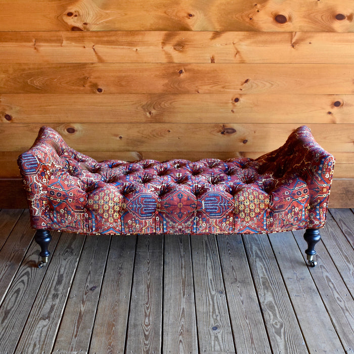 St. Lawrence Ottoman Bench Upholstered in Luxury British Velvet Inspired by Liberty Oriental Carpets