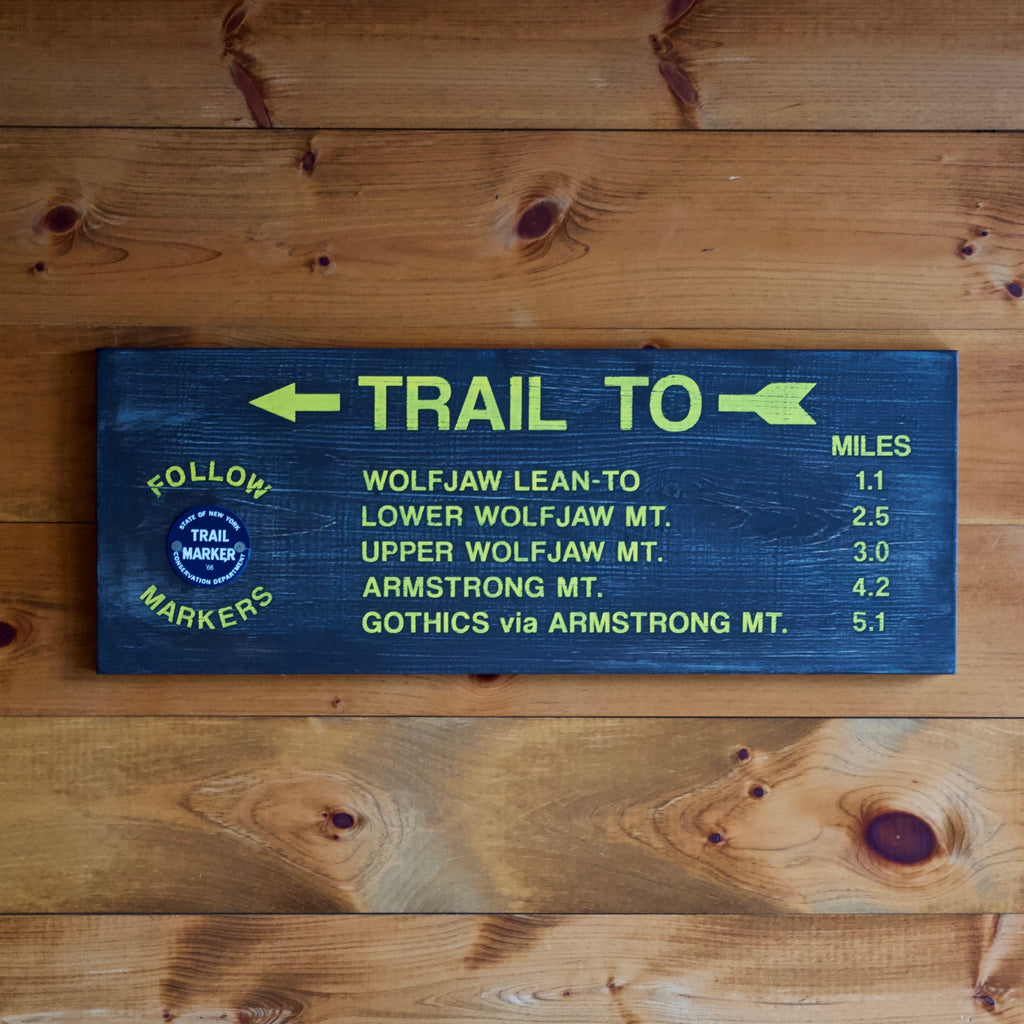 Hand Painted New York State Conservation Department Trail to Wolfjaw Mountain Sign with Trail Marker
