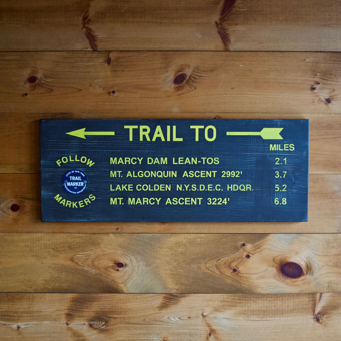 Hand Painted New York State Conservation Department Trail to Mt. Marcy Sign with Trail Marker