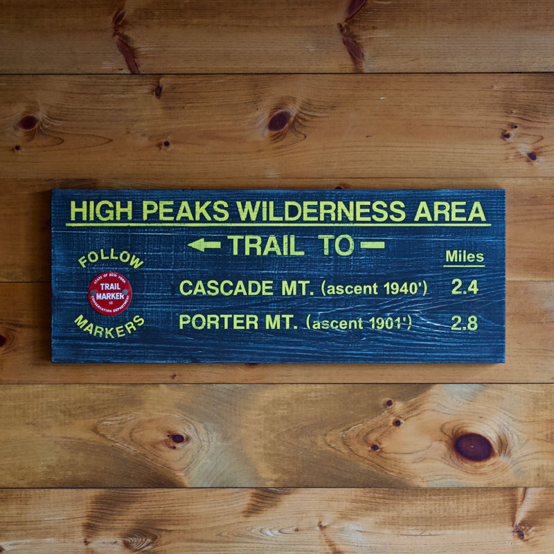 Hand Painted New York State Conservation Department Trail to Cascade and Porter Mountain with Trail Marker