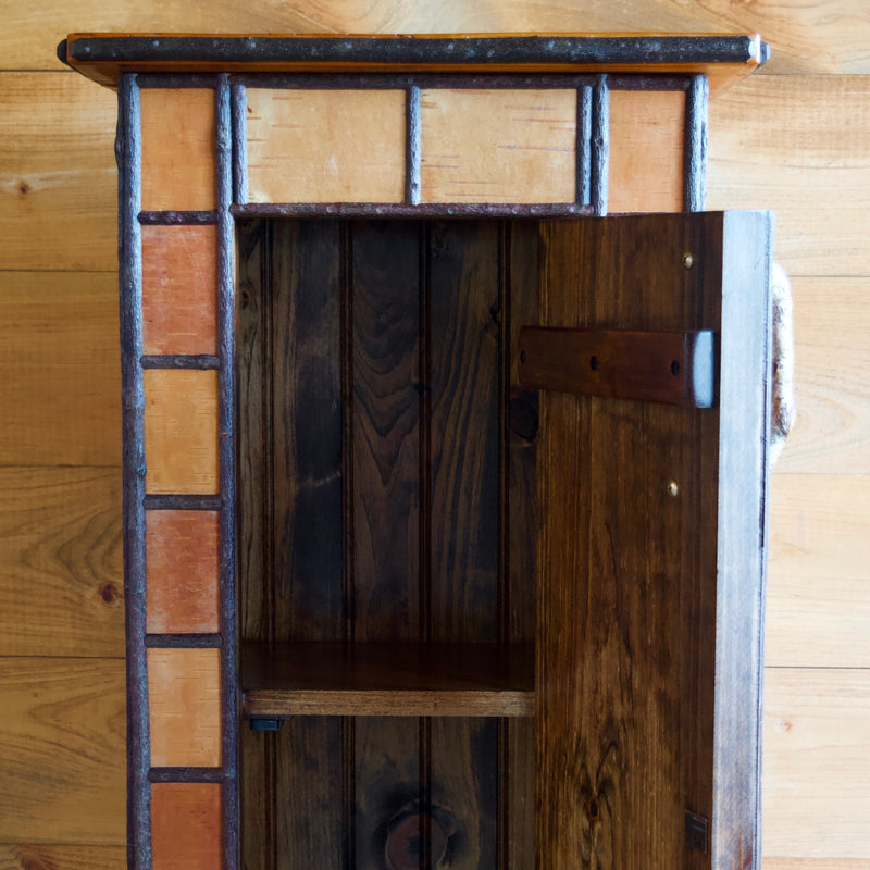 Pitchoff Cupboard Featuring Reclaimed Antique Barnwood Top and Interior, Reversed Birch Bark Exterior and Willow Twig Detail Work