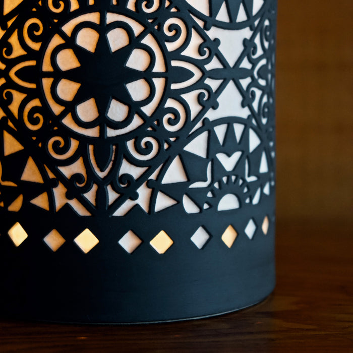 Black and White Porcelain Silhouette Accent Lamp Featuring Beautiful Ornate Etching