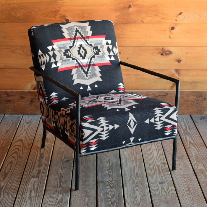 Hammered Metal Rustic Industrial Arm Chair Upholstered in Red & Black Pendleton