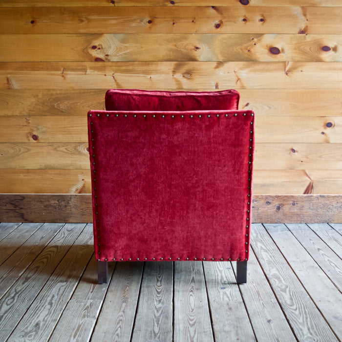 Placid Arm Chair by Lee Industries in Everest Crimson Red with Vintage Chestnut Finished Legs and Nailhead Trim