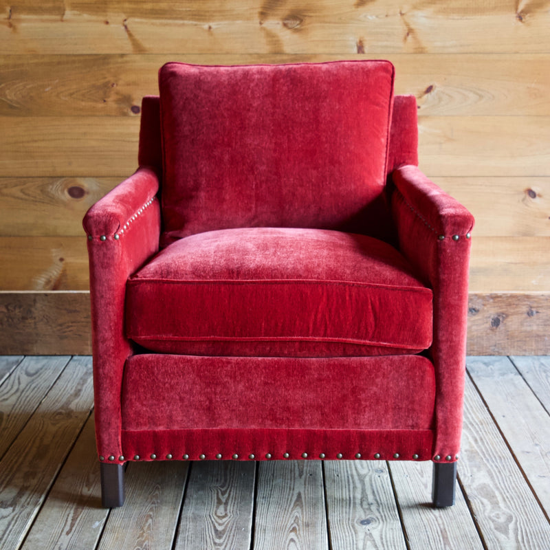 Placid Arm Chair by Lee Industries in Everest Crimson with Vintage Chestnut Finished Legs and Nailhead Trim