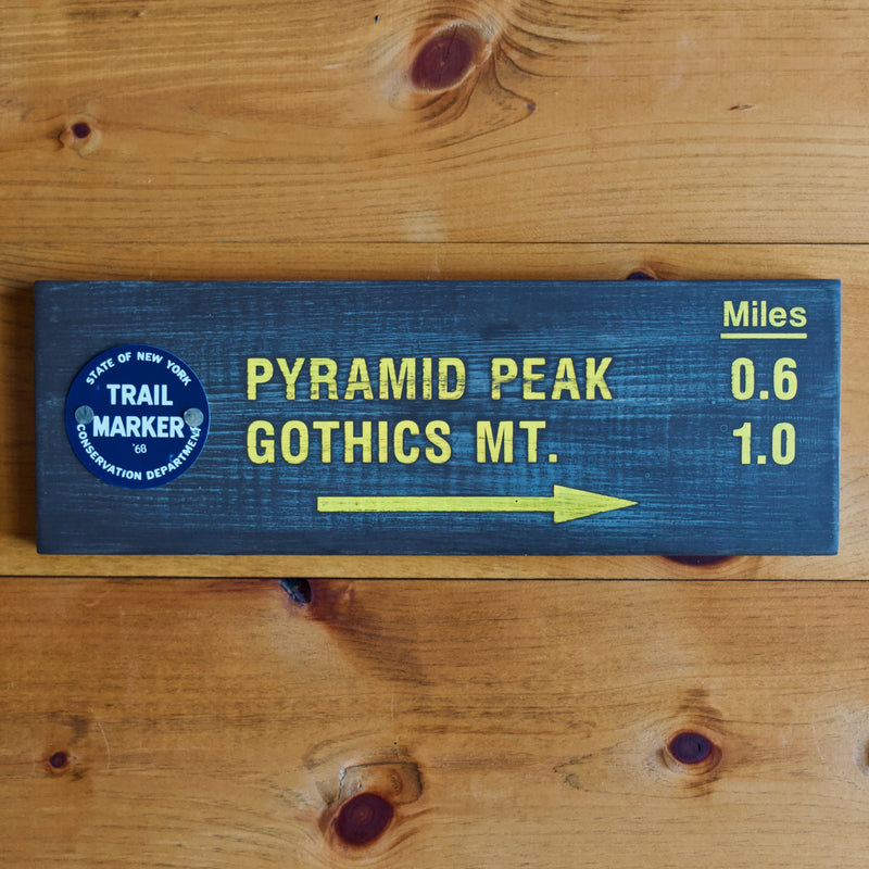 Hand Painted New York State Conservation Department Pyramid Peak Sign with Trail Marker