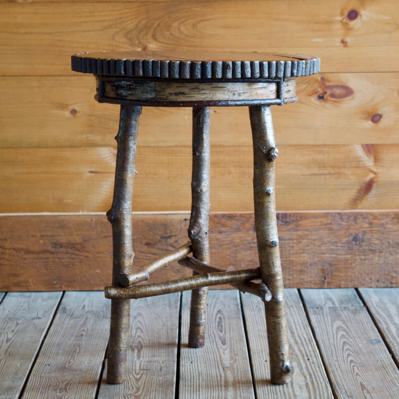 ... Rustic Round Side Table Featuring Premium White Birch, Yellow Birch  Legs, Willow Details And ...