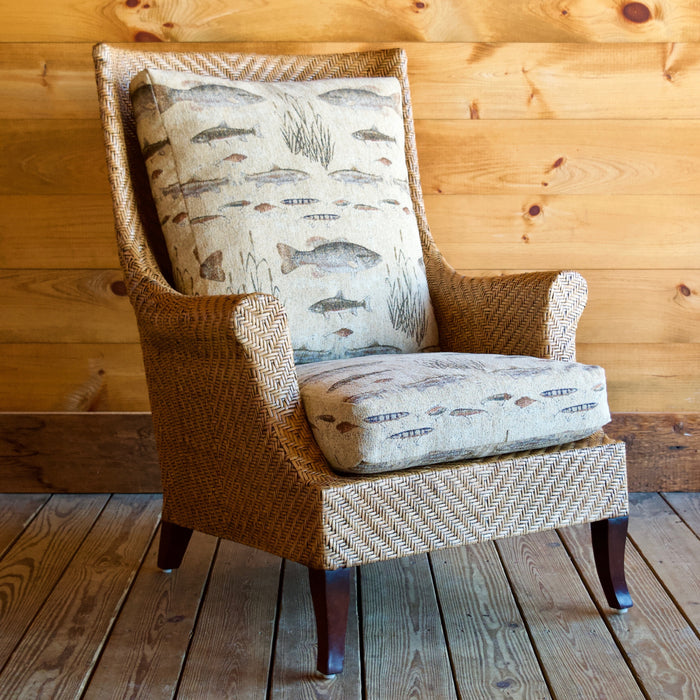 Rattan High Back Wing Chair with Fishing Tapestry Fabric Cushions