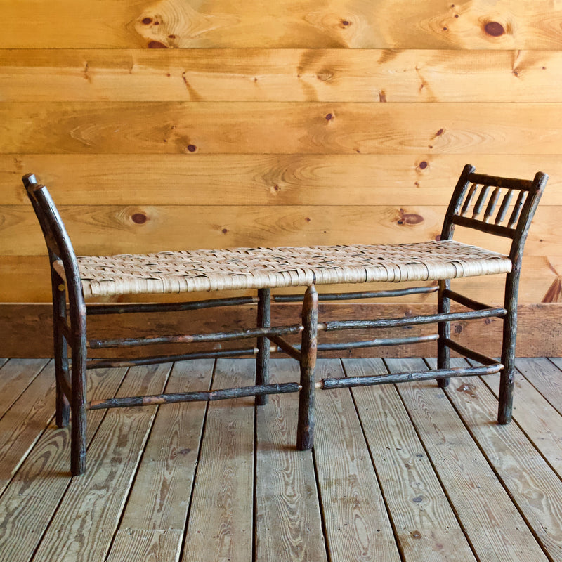 Rustic Hickory Bench with Eco-Friendly Woven Paper Splint Seat