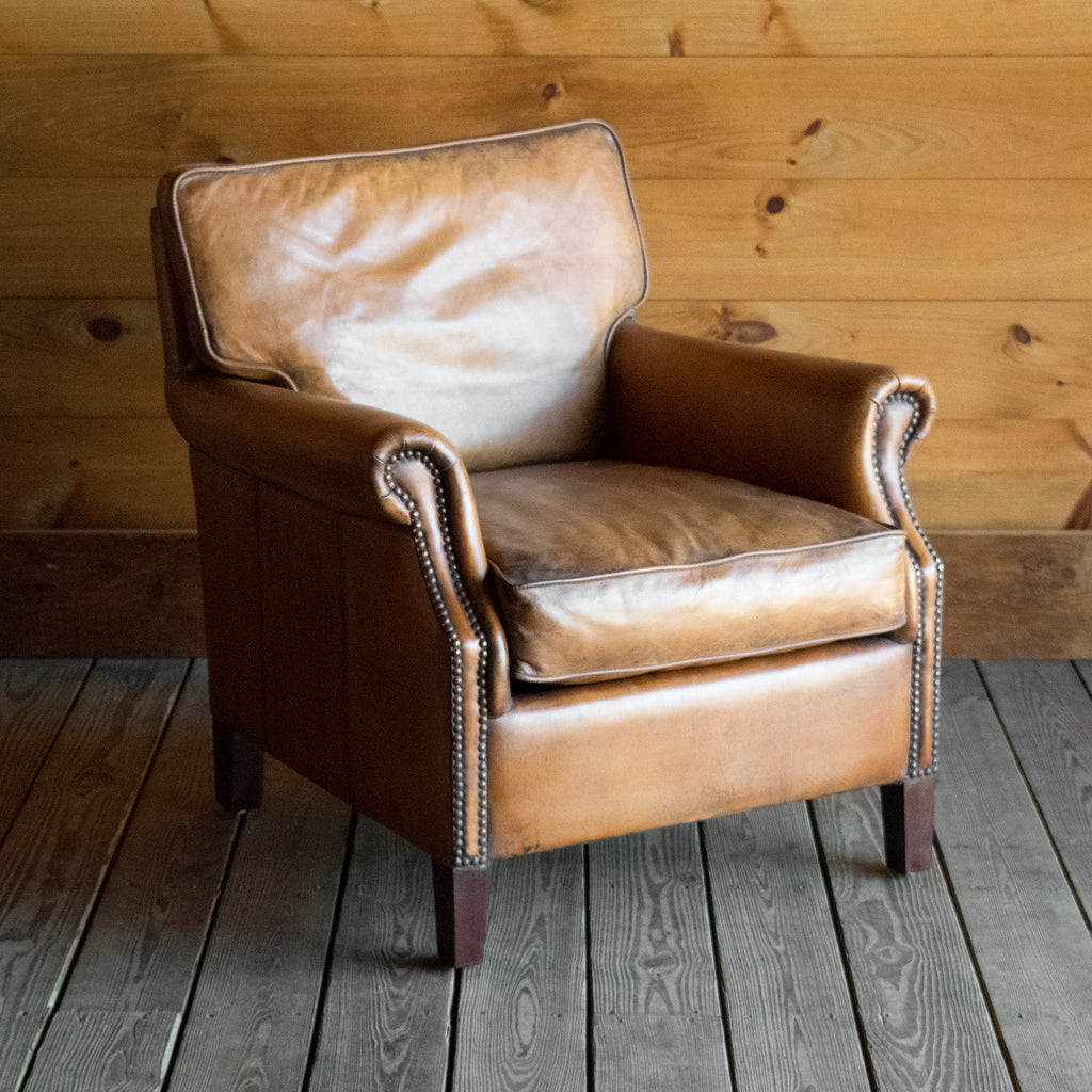 Antique Buffalo Leather Arm Chair with Tapered Legs and Nailhead Trim