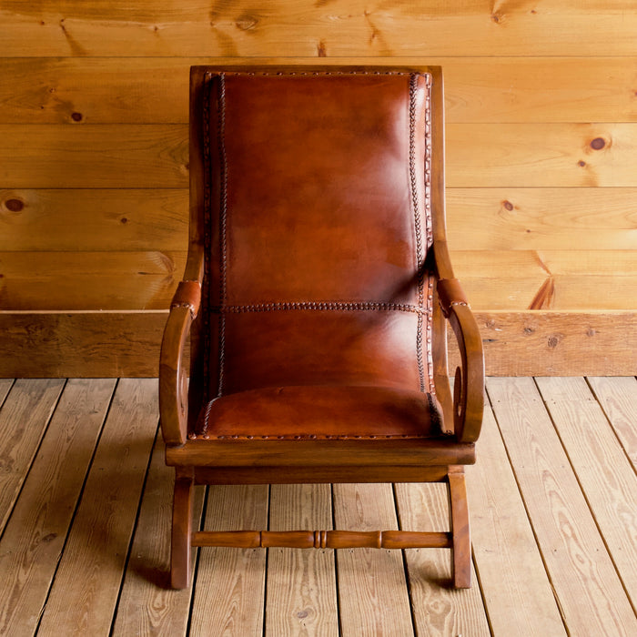 Rustic Scroll Arm Leather Chair & Ottoman Set