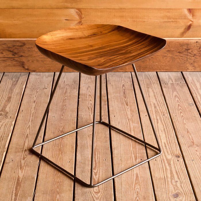 Wood and Iron Saddle Seat Stool