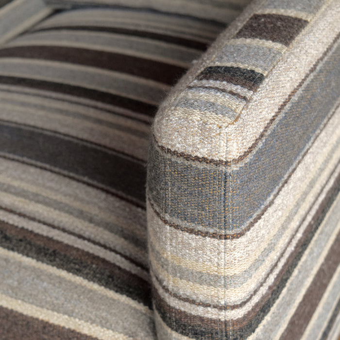 Square Silhouette Club Chair in Horse Blanket Stripe Fabric