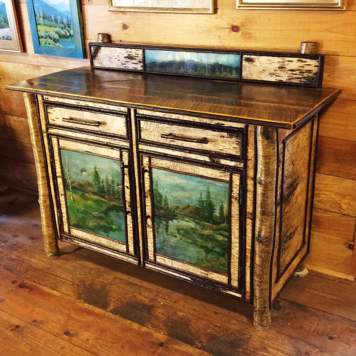 Porter 4' Sideboard with Original Adirondack Paintings on Birch