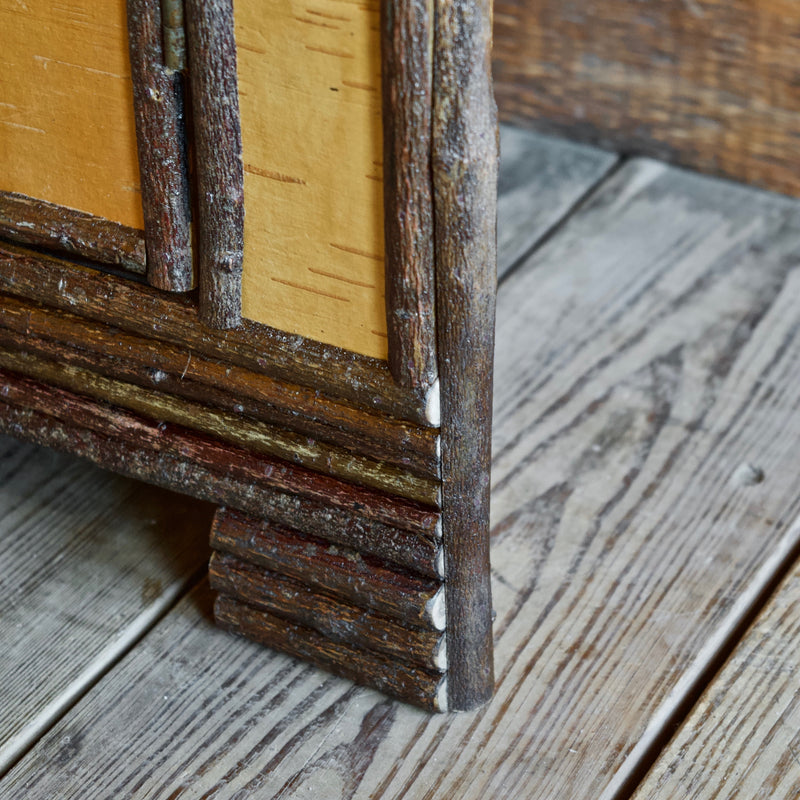 Rustic Adirondack Corner Cabinet Featuring Reverse Birch Bark, Antique Barnwood and Willow