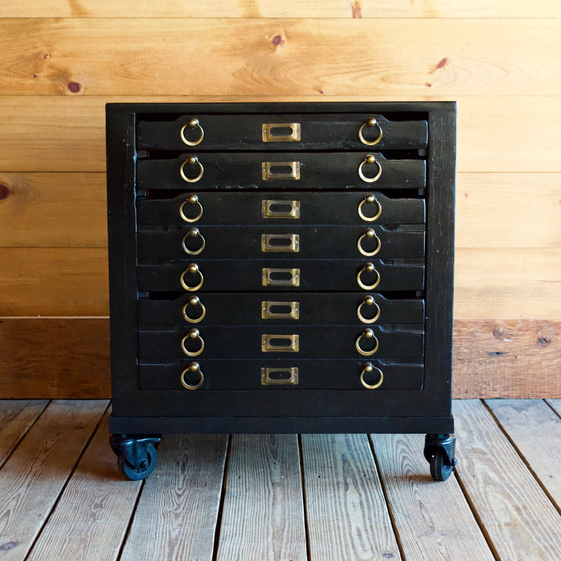 Black Typeset Nightstand with Industrial Elements