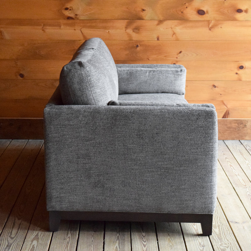 Square Arm Sofa with Solid Wood Base Upholstered in Gray Stain-Resistant Chenille Fabric