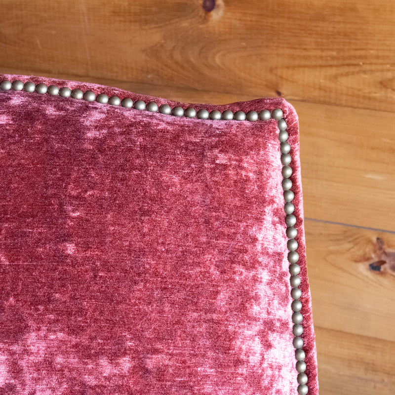 Dark Red, Rose, Cinnamon Worn Velvet Chair with Swooped Back, Nailhead Trim, and Tapered Legs