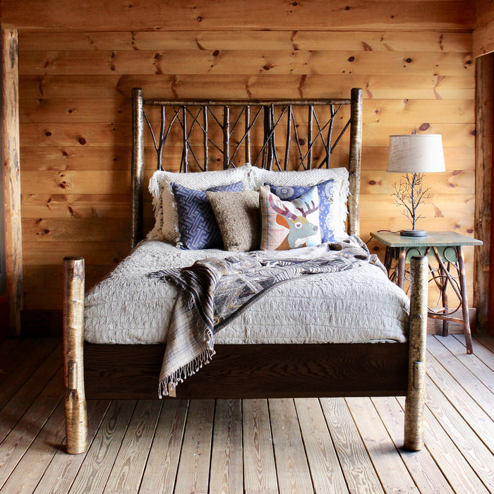 Rustic Adirondack Yellow Birch Branch Brush Bed