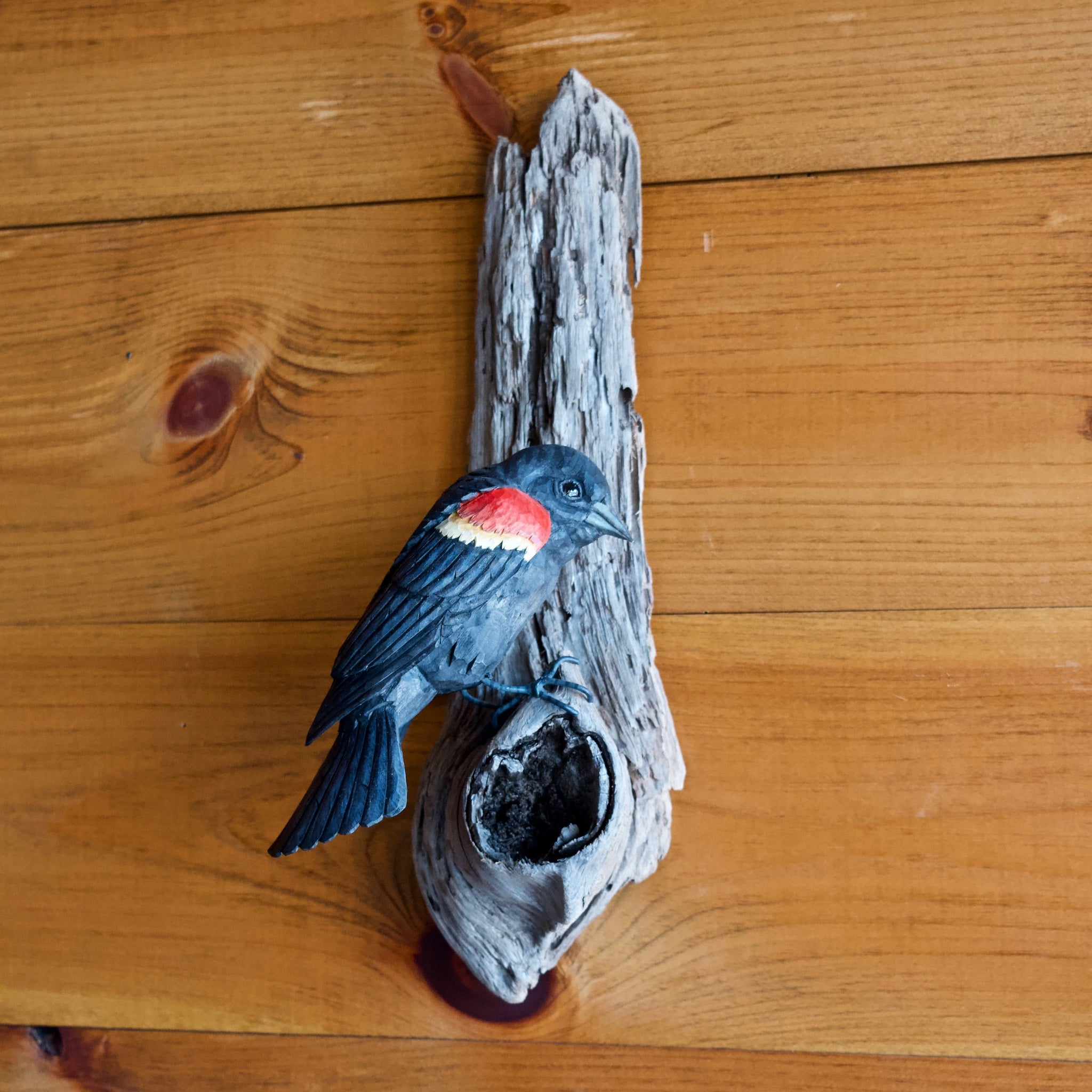Wall Carving of Red-winged Blackbird by Allen Aardsma