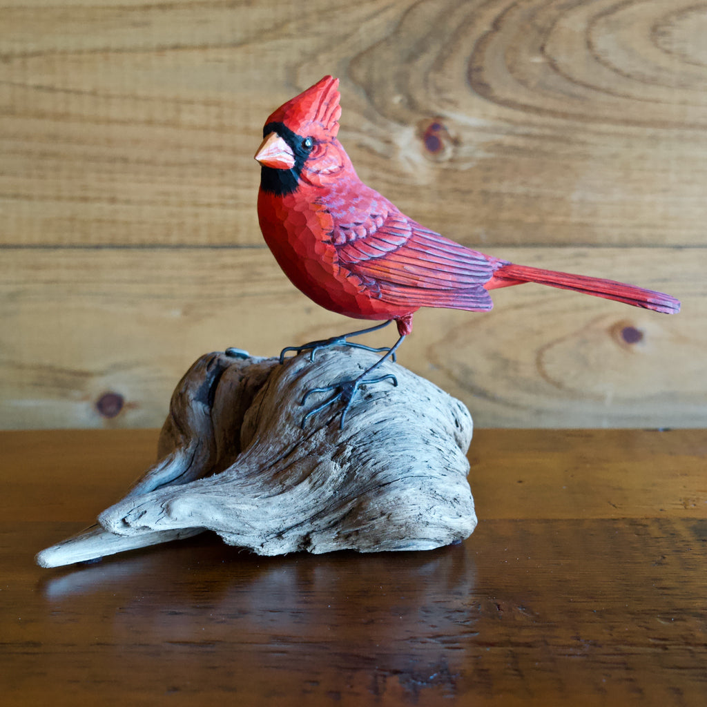 Cardinal Bird Carving on Log by Allen Aardsma