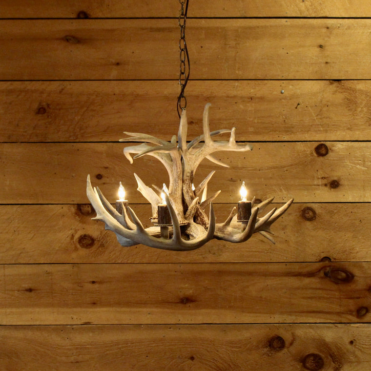 4 Light White Tail Chandelier