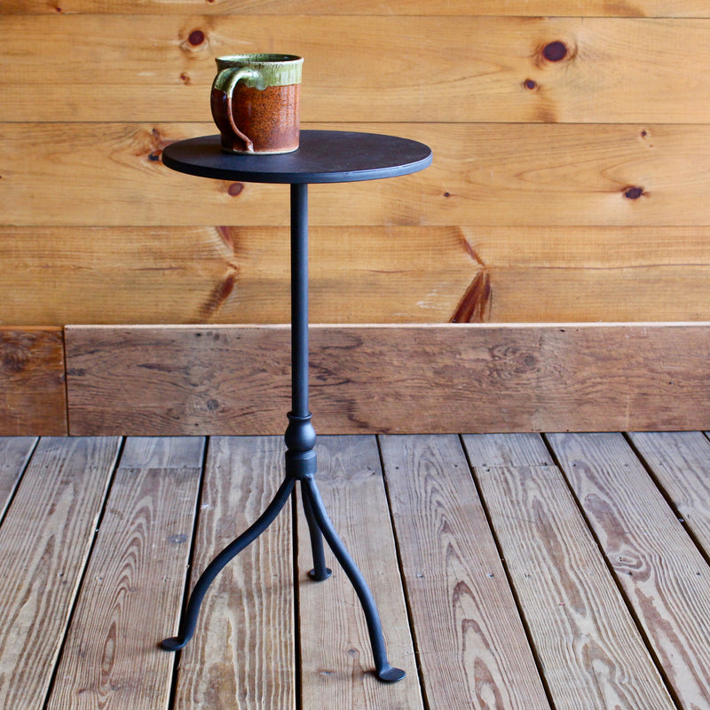 Iron Pedestal Side Table