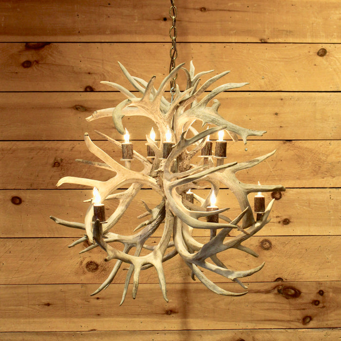 Rustic non typical whitetail antler globe chandelier