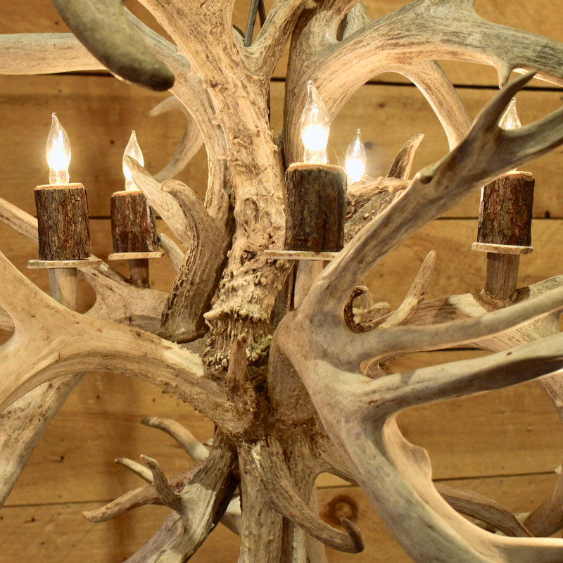 Rustic non typical whitetail antler chandelier