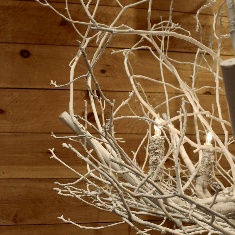 Natural hickory twig chandelier