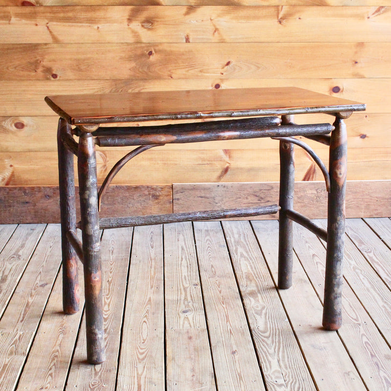 Rustic Hickory Writing Desk with Barn Wood Top