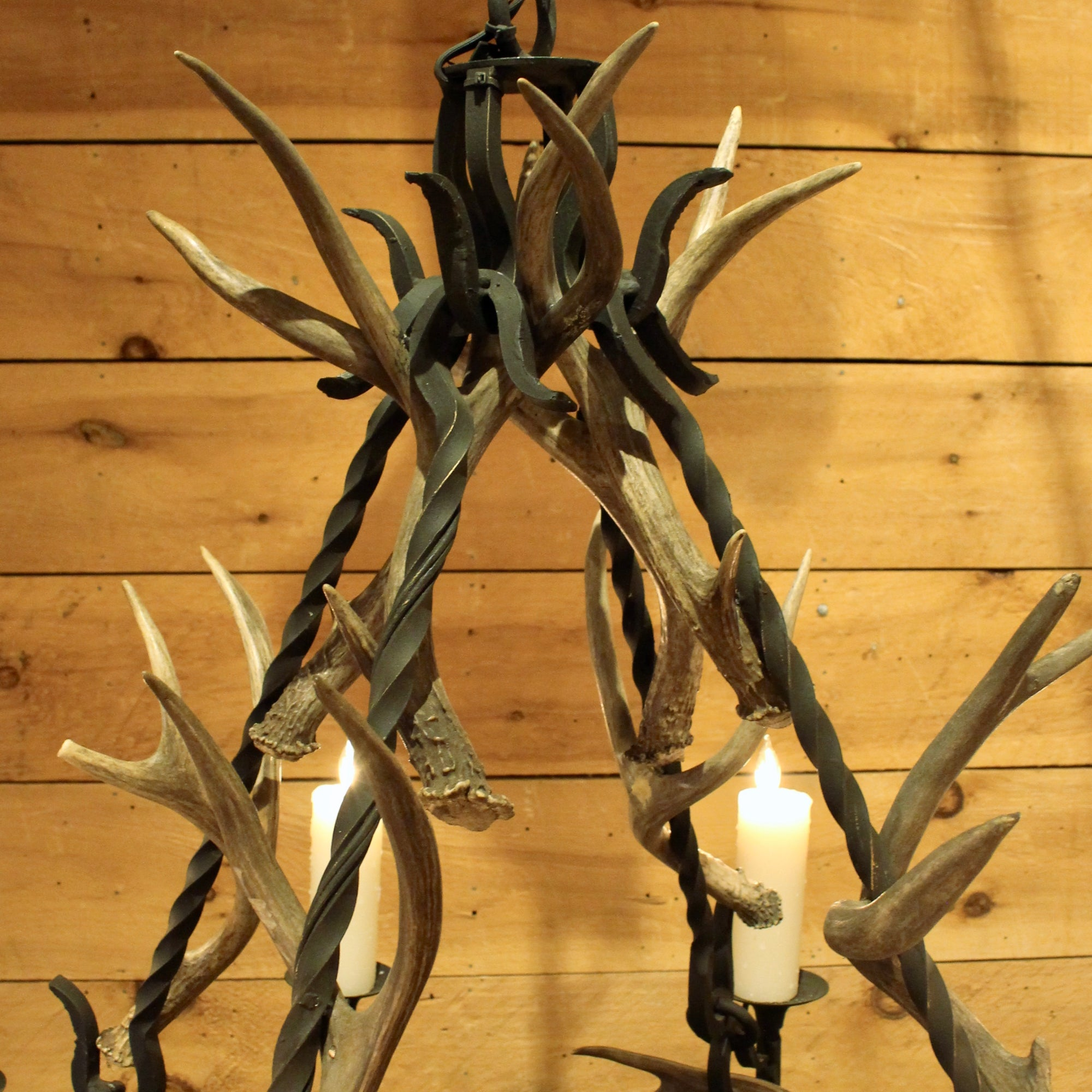 Great camp iron antler chandelier tiered iron and antler rustic iron and antler chandelier arubaitofo Image collections